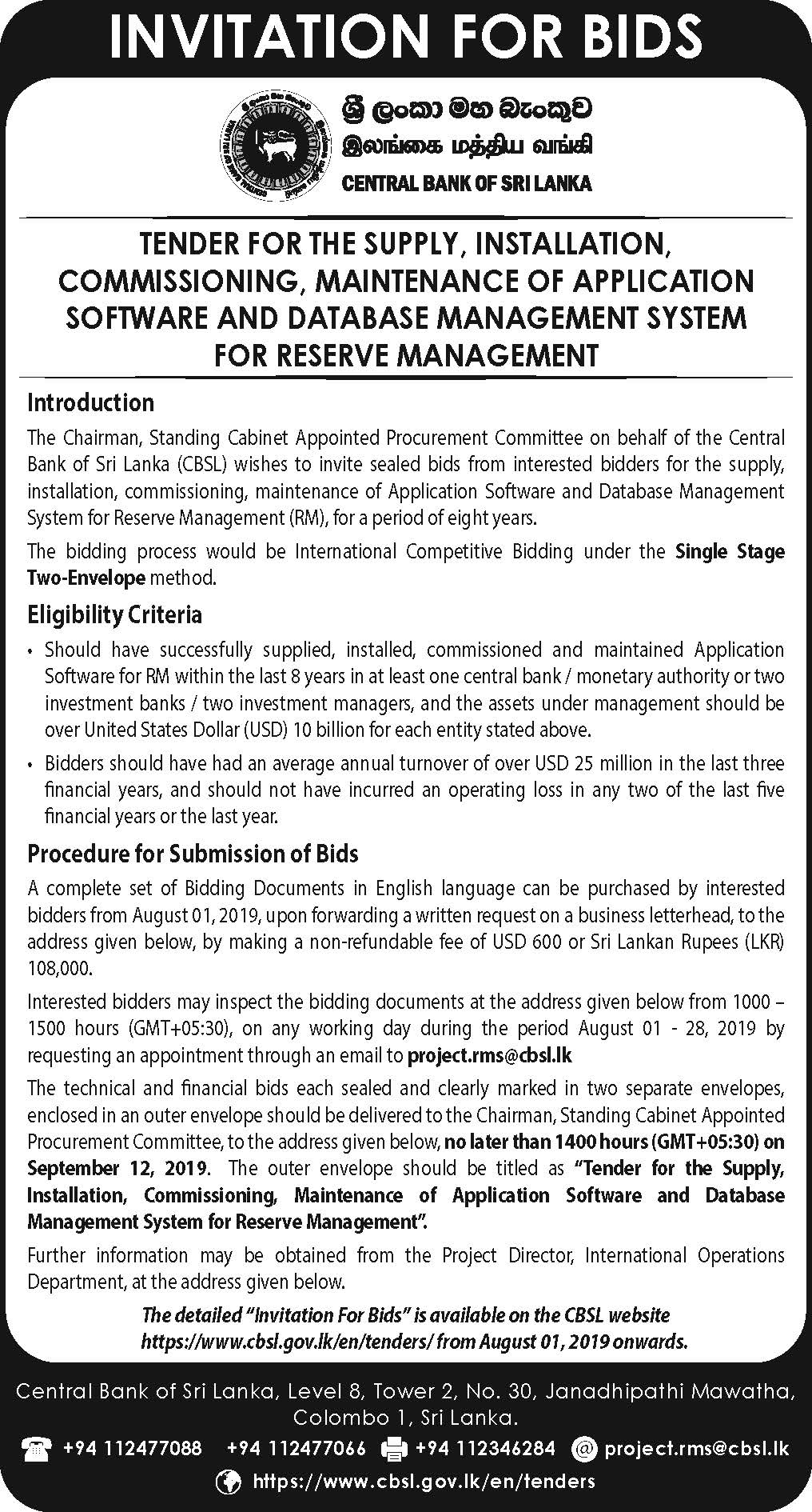 TENDER FOR THE SUPPLY, INSTALLATION, COMMISSIONING