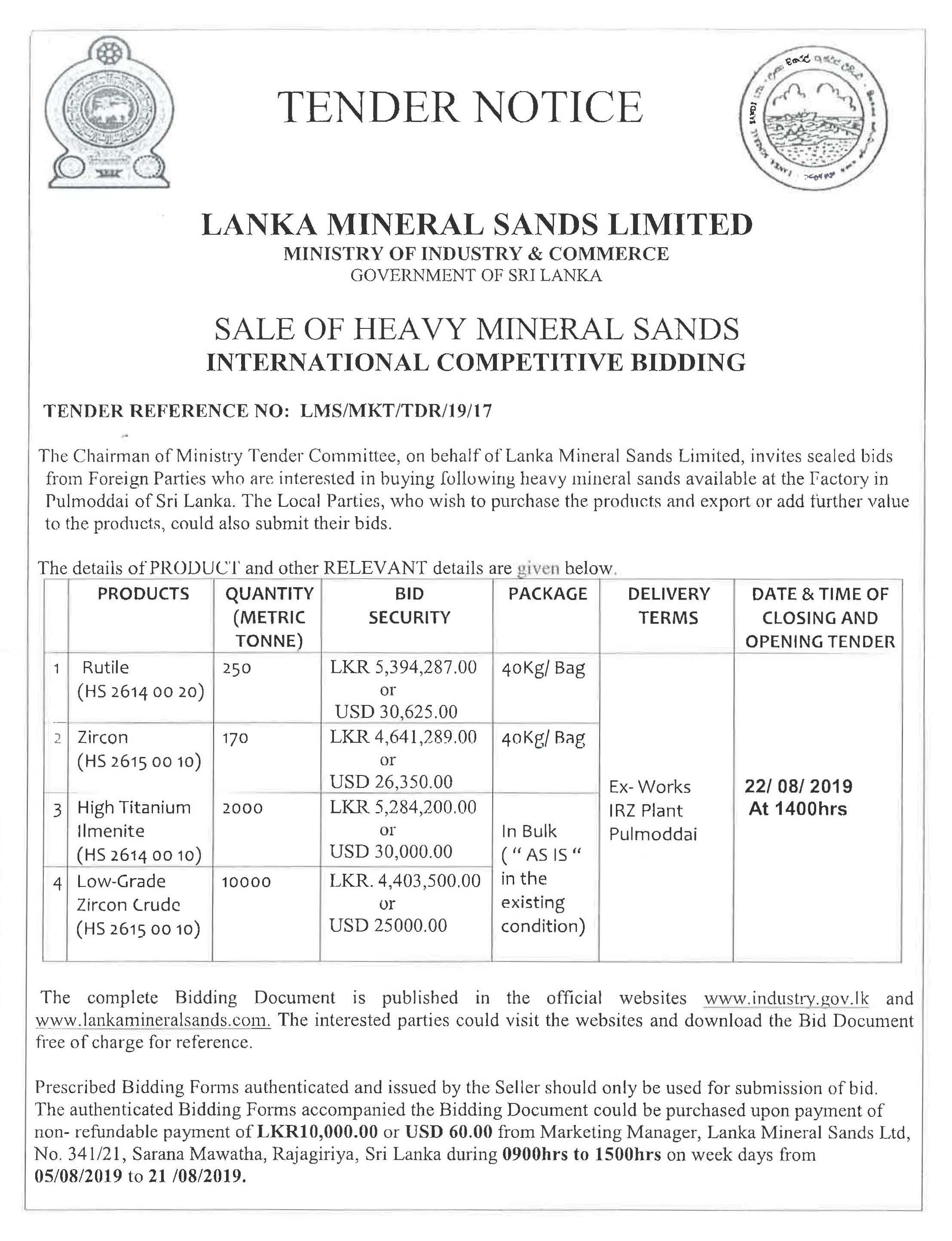 Cir 236 Bid Notice for Sale of Heavy Mineral Sands