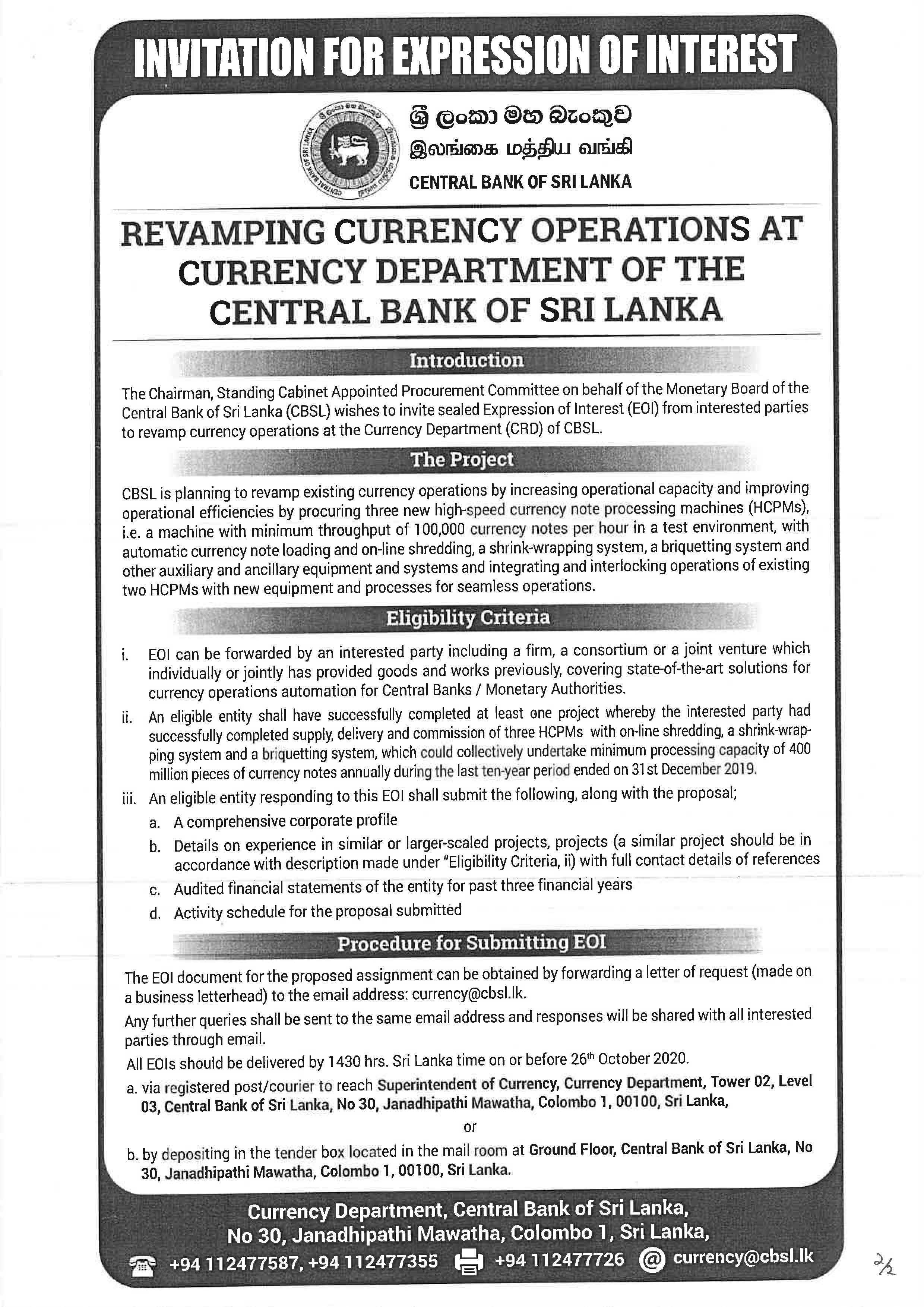 Invitation for Expression of Interest Central Bank of Sri Lanka