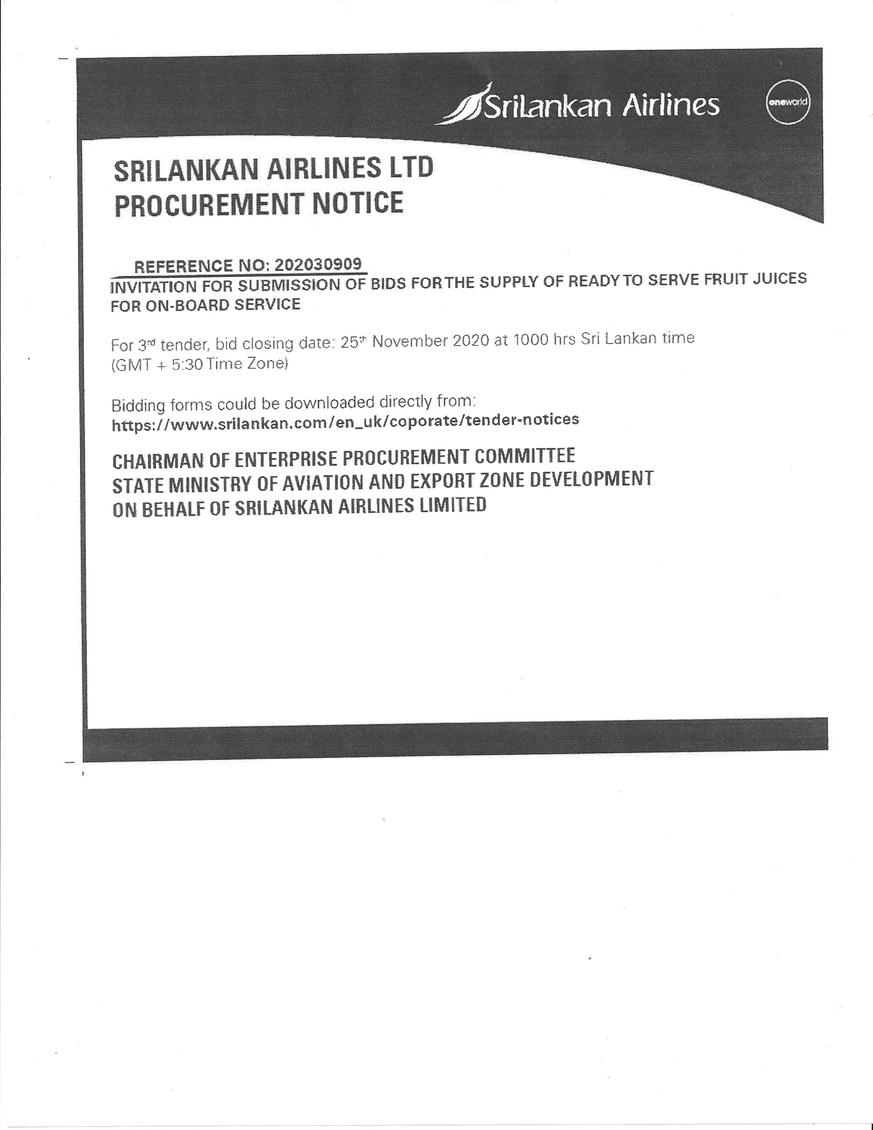 supply of fruit juice by SriLankan Airlines