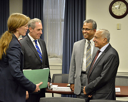 Minister Malik Samarawickrama meeting with Ambassador Michael Froman and Ambassador Samantha Power