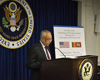Minister Malik Samarawickrama speaking at the United States-Sri Lanka Trade and Investment Framework Council meeting